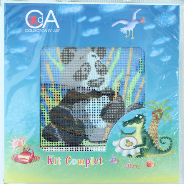 kanavatyötaulu, panda